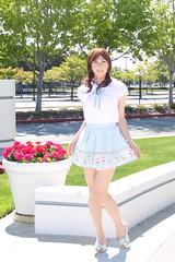 day270-01 AnkRouge White BL & Blue SK (Yumiko Misaki) Tags: blue white mini skirt crossdressing blouse transgender transvestite crossdresser day270 transsexsual ankrouge