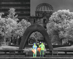 Umbrellas Down in Hiroshima (zachstern) Tags: trees rain japan umbrella ir memorial war peace fromabove hiroshima infrared protection abombdome nuclearwar selfie atombomb raindown