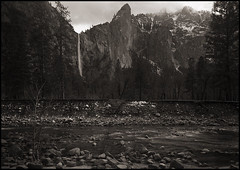 quiet afternoon (stormiticus) Tags: blackandwhite bw snow mountains misty waterfall kodak yosemite bridalveil largeformat mercedriver 5x7 txp canham pyrocathd
