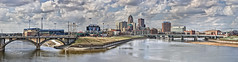 Downtown Des Moines Panorama 2012 (w4nd3rl0st (InspiredinDesMoines)) Tags: city bridge wallpaper panorama beautiful skyline clouds canon computer river spring midwest cityscape baseball screensaver north wideangle iowa panoramic 7d cubs aa riverwalk lowwater confluence puffyclouds 2012 desmoines iowacubs expansive 801grand tworivers aabaseball desmoinesriver 1585 sectaylor skunkriver icubs centraliowa desmoinesisnotboring
