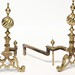 272. Antique Brass Andirons with Spiral Cannonball Motif
