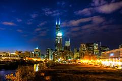 Aglow (benchorizo) Tags: city longexposure urban chicago skyline downtown nightshots hdr chicagoist banias citynights d7000 benchorizo
