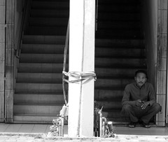 Stairs (ZedeZ) Tags: street white man black monochrome look stairs canon candid entrance streetphotography malaysia kualalumpur sight messaging soulopeople1