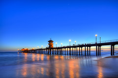 so blue (Eric 5D Mark III) Tags: california longexposure blue sunset people usa color reflection beach canon landscape photography pier twilight unitedstates atmosphere wideangle orangecounty huntingtonbeach tone ericlo tse17mmf4l eos5dmarkiii