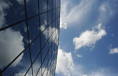 Technology, the sky is the limit, blue sky, clouds, reflection, Bellevue, Washington, USA