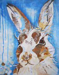 Winter Hare (dawndm) Tags: art animals collage artwork hare forsale fineart fine paintings buyart paperpaintings chrissharratt tornpaperpaintings fifeartist dawnmaciocia