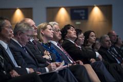 Delegates listen to a speech at the Congress Center Leipzig