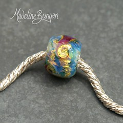 """Rainbow Shimmer Swirls Silver Cored Lampwork Glass Bead • <a style=""""font-size:0.8em;"""" href=""""https://www.flickr.com/photos/37516896@N05/7413218420/"""" target=""""_blank"""">View on Flickr</a>"""