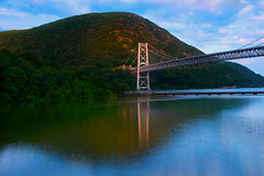 Tower Reflection at Bear Mountain Bridge (SunnyDazzled) Tags: bear park bridge summer mountain newyork tower history nature water clouds creek reflections river evening construction colorful suspension scenic bearmountain cables hudson orangecounty thegalaxy intouchwithnature fortmontgomery popolopen