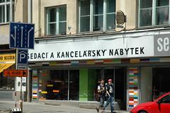 Sedac a kancelsk nbytek (Florian Hardwig) Tags: brno storefront arrow lettering caron acute diacritics hek u00c1 u00dd u0158 u00cd