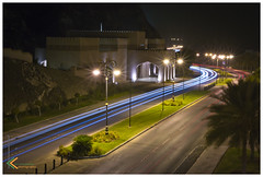 Light Trails (Krishnakumar photography) Tags: street car museum night nikon streetlight gate long exposure trails palm corniche shutter headlight lighttrails 1855mm nikkor krishna oman muscat kk divider mutrah krishnakumar mutra krishnaphotos d3100 krishnakumaro krishnakumarphotography krishnapics krishnakumarogmailcom