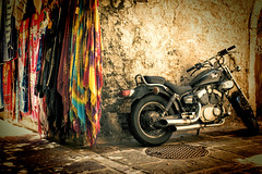 Old town corner (Theophilos) Tags: old corner town crete motorcycle scarves rethymno