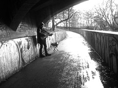 Under the bridge (Lene S Hammer) Tags: vacation blackandwhite music holiday man oslo norway norge guitar gatemusikant