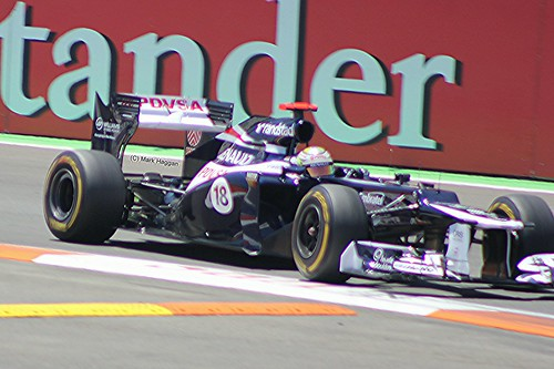 Pastor Maldonado in his Williams F1 car during the 2012 European Grand Prix in Valencia