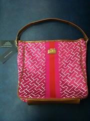 Women's Tommy Hilfiger Bucket Tote Handbag (Pink) (Travel Galleries) Tags: pink ladies girls smart bag hand tan womens tommy casual shoulder hilfiger lightweight
