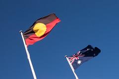 Aboriginal and Australian Flags (Kokkai Ng) Tags: blue sky flying day symbol flag unity australia bluemountains flags pole brightlight harmony nsw aborigine newsouthwales aboriginal katoomba clearsky equality agreement australianflag nationalflag brightcolour socialissues aboriginalflag lowangleview angledview traditionallyaustralian allaustralianflags