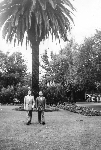 South African photographs from 1954 - my father and friend Feiffer, Pretoria Zoo, Febr 54