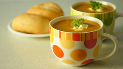 Pumpkin soup (judith511) Tags: orange parsley sourcream breadrolls pumpkinsoup 365d soupmugs 365daysincolour