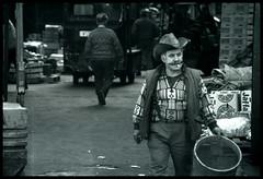Spitalfields Cowboy (michael_speranza) Tags: people bw london film vegetables hat fruit last cowboy day market cigarette character smoking trading hp5 smoker veg ilford spitalfields londoncity trader