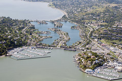Aerial view of Belvedere Lagoon, beteen Beledere Island and Tiburon Peninsula, Marin County, California (cocoi_m) Tags: california aerial marincounty sanfranciscobay aerialphotograph tiburonpeninsula belvederelagoon beledereisland