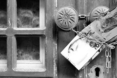 Supermarket flyer (msiapan) Tags: door old monochrome flyer village cyprus lefkara πόρτα κύπροσ διαφημιστικό λεύκαρα υπεραγορά