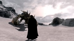 At the Throat of the World (than) Tags: world mountain snow rock dragon 5 character v elder sword cloak throat shout scrolls skyrim