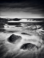 Push and Pull (A Durst Photo) Tags: longexposure seascape beach water monochrome landscape coast sand rocks outdoor wave spray land geography typeofphotography