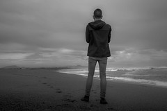 Self portrait (kind of.. ) (G.Comte) Tags: ocean sea bw mountain selfportrait beach monochrome seaside sand noir getaway sony horizon kway et pyrnes limitless a500 lookingtowards