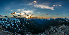 Sunset from a viewpoint near Geiranger (Panorama) (Mich's Pictures) Tags: sunset mountain norway landscape mount paysage fjords geiranger