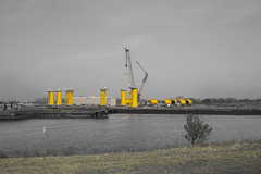 Wind farm birth (R.Brown-Photography) Tags: yellow river wind farm middlesbrough desaturate