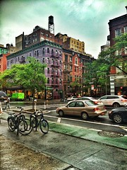 Rainy evening Upper West side. (goldensummer1200) Tags: nyc rainyday purple upperwestside columbusavenue