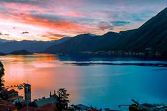 Sunrise on Como's lake (Diego Pianarosa (aka Pinku)) Tags: pink blue red italy lake como colors sunrise canon landscape angle wide sow pinku 70d diegopianarosa