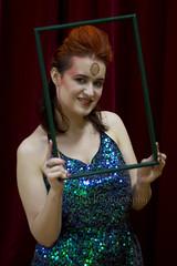 Framed 49 (C & R Driver-Burgess) Tags: red woman hair bowie facepaint