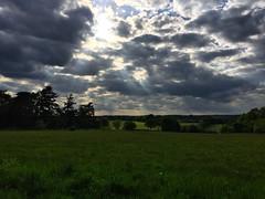 Sunbeams Over The Fields (Marc Sayce) Tags: sunset clouds hampshire fields sunbeams headley bordon