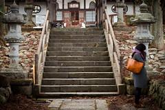 Nasu (www.danbouteiller.com) Tags: japan japon japanese japonais japonaise nasu tochigi countryside temple shrine woman femme pray buddhist shinto shintoism upstairs escaliers stone stones pierre