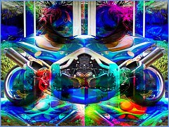 Modified Motorcycle (Joe Vance aka oliver.odd) Tags: light abstract colour sisters dark woods chaos faces space fear surreal motorcycle abstraction distress confusion turmoil