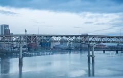 Marquam Bridge (Dimitri_Stucolov) Tags: morning blue oregon portland cityscape cloudy hawthornebridge pacificnorthwest pdx bluehour willametteriver marquambridge