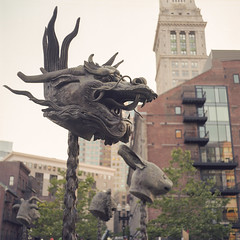 Boston_20160625_008 (falconn67) Tags: mamiya film bronze mediumformat hare dragon 120film zodiac greenway customhouse c330 aiweiwei circleofanimalszodiacheads