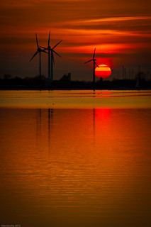 The sun goes down in Fehmarn Germany