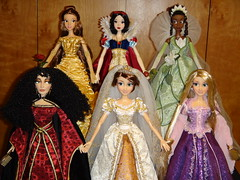 Disney 17'' LE Doll Collection - 5 Princesses and 1 Villain - Midrange Front View #3 (drj1828) Tags: wedding white snow store inch doll princess mother disney blonde belle 17 tiana villain limited edition rapunzel gothel