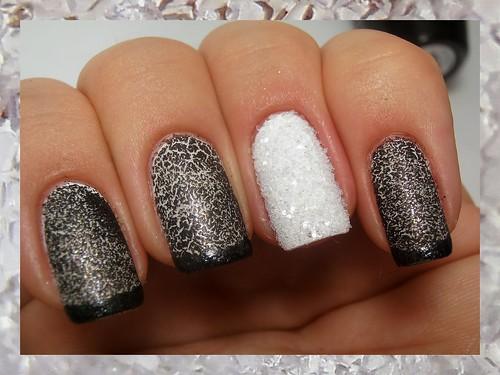 Black & White Smoky Crystal Nails