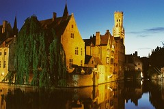 Tower at Blue Hour (Nams82) Tags: reflection film analog canal europe long exposure belgium tripod brugge f65 clocktower bluehour tungsten analogue nikkor hama flanders 8000 lomography400cn rozenkaai