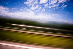 Passing by (FDU4) Tags: road longexposure blue sky green nature clouds moving movement highway icm intentionalcameramovement