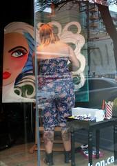 Art on Queen West (Georgie_grrl) Tags: toronto ontario cute bunnies art painting couple artist workinprogress tattoos painter queenstreetwest windowdisplay grrl inkwork cans2s mydarkpinkside samsungd760