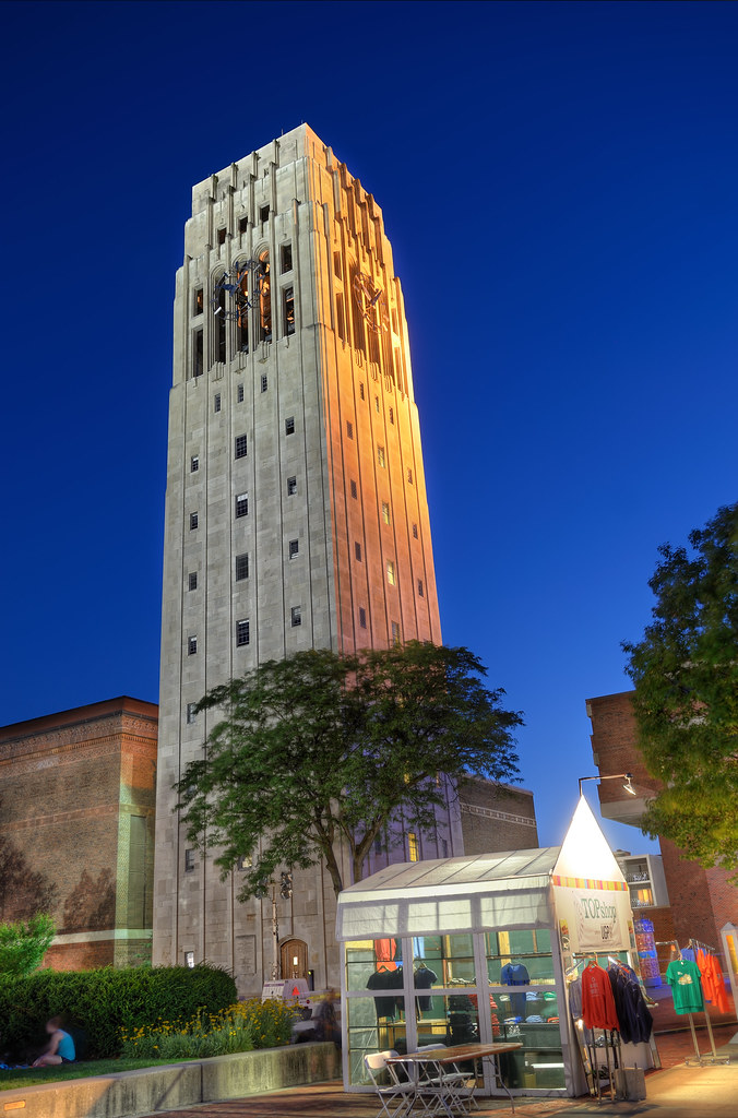 Burton Memorial Tower at dusk