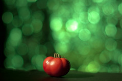 Day 196 - Tiny Tomato (Creative_Light_Photography) Tags: red food green colors photography nikon dof bokeh tough gels catchy gel d90 setupshot strobist