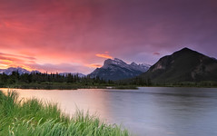 Sunrise at  Mount Rundle (Ania.Photography - OFF) Tags: travel pink sky cloud mountain lake plant canada color reflection tree nature grass horizontal sunrise landscape photography dawn day purple cloudy alberta banff idyllic scenics mountrundle banffnationalpark mtrundle mountainrange tranquilscene canadianrockies vermillionlakes natureoutpost pwwinter