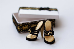 """Shoes for outfit """"Black on gold"""" (Trotilla) Tags: black gold shoes box handmade 2012 201207 formonsterhigh"""