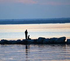 Father and son Fishing (4chunmaker) Tags: sunset sky blackandwhite beach water sunrise island long
