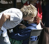 Rod Stewart kisses an elderly fan as he leaves Starbuck's coffee in Bel Air and hit the road in a brand new Lamborghini Gallardo Spyder Los Angeles, California